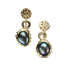 Gold Granulated Black Pearl Earrings