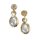 Gold Granulated Pearl Earrings