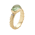 Granulated Green Tourmaline and Diamond Ring